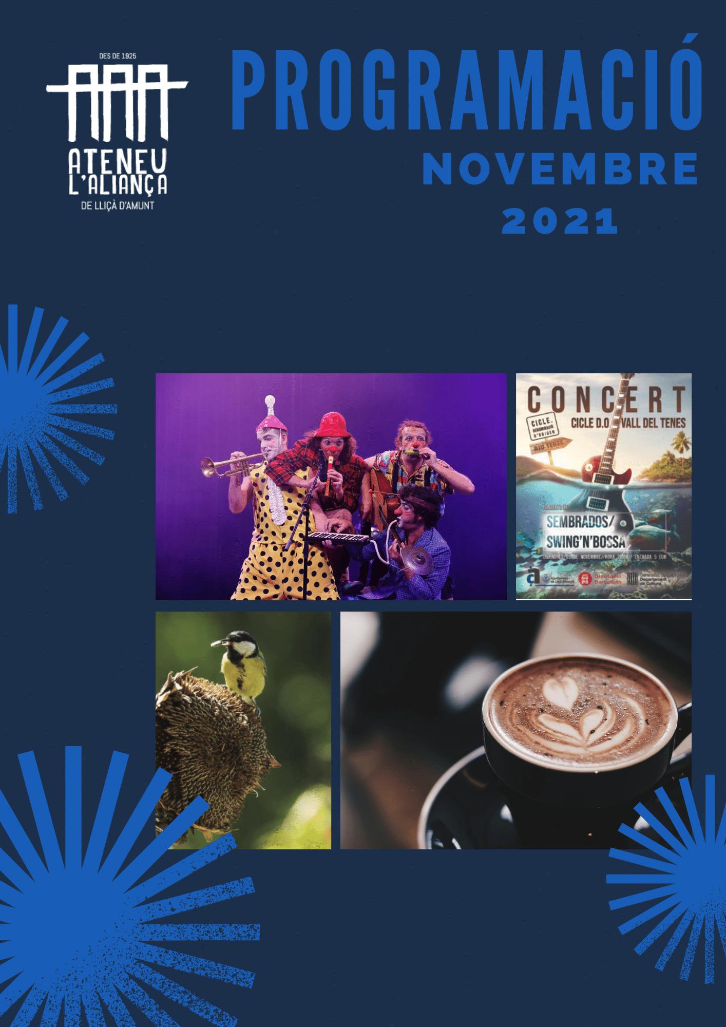 Programació Cultural de Novembre 2021 a L'Ateneu Aliança